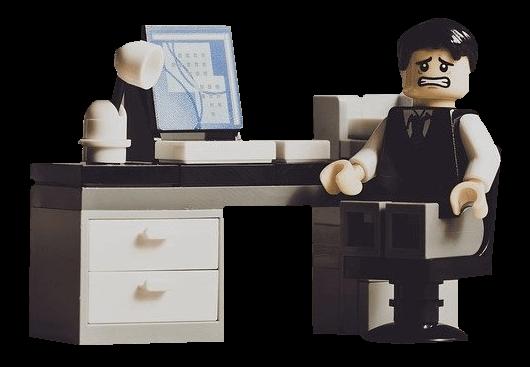 lego man at desk